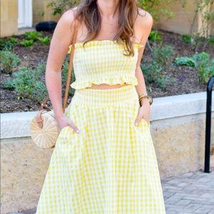 Goodnight Macaroon Gingham two-piece skirt set